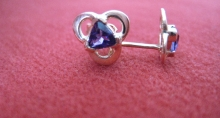 10k Yellow Gold Earrings with Trillium Cut Amethyst