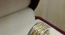 Sterling Silver Men's Band with 10k Yellow Gold